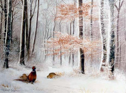 An oil painting of pheasants foraging for food in set in a wooded snowy landscape