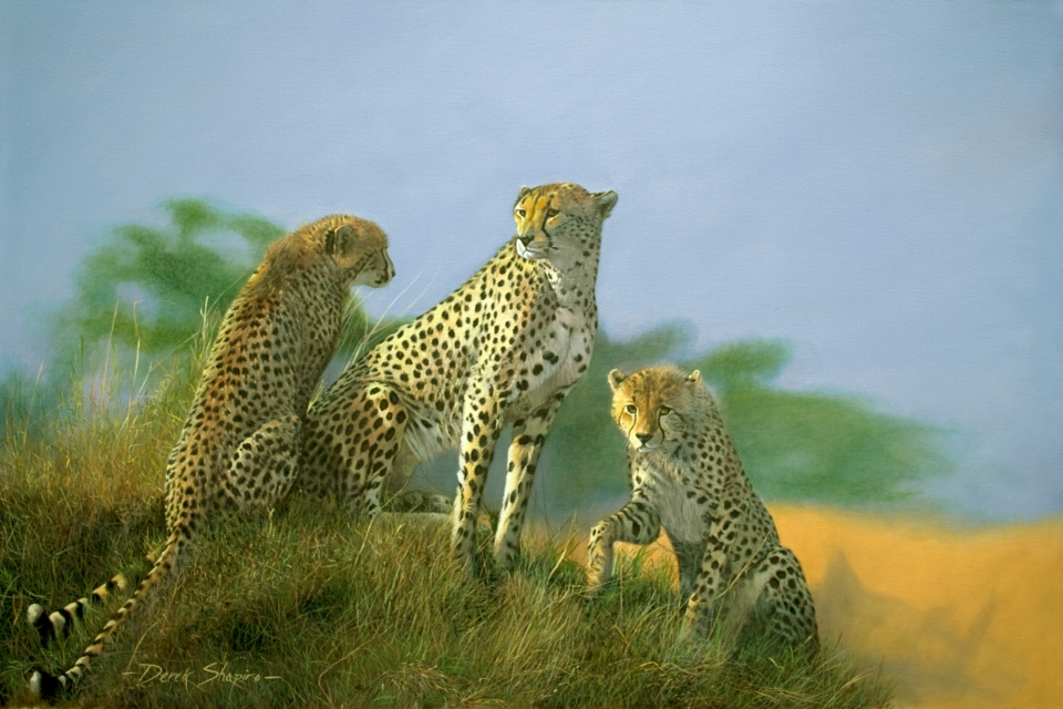 An oil painting on canvas of a mother Cheetah and her two cubs watching from a termite hill