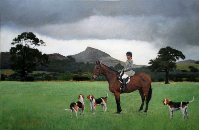 'A Huntswoman of the Cleveland Hunt' Rose Berry Topping in the background' An oil on canvas painting of a hunts woman on horse back at a hunt meet, set with in a landscape in Northumbria.