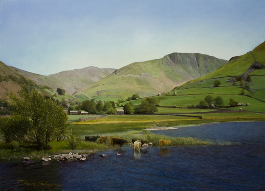 'Cattle Watering' Brothers Water, Patterdale , Lake District. An oil painting of a quintessential English landscape.