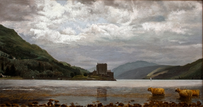 By the Kyle of Lochalsh' Eilean Donan Castle Scotland Oil on canvas. Landscape painting of one of the most visited scenes in Great Britain. Highland cattle watering in the foreground.