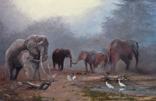 'Evening Dusters' Oil on canvas 24 x 36 ins An oil painting of a group of Elephants dusting by a dried up water hole.