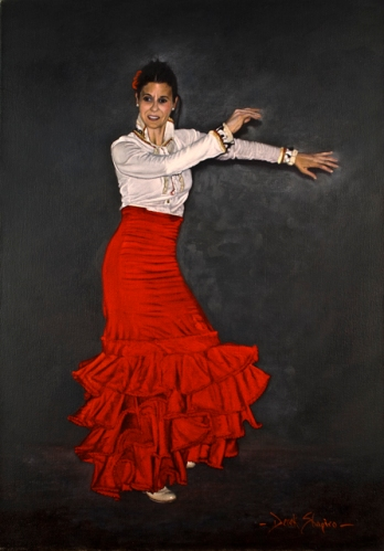 Oil painting of a Flamenco dancer, the lovely Bea from Garucha, dancing at the Azabache Restaurant in Spain.