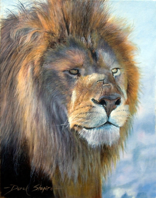 'Gladiator' Oil on canvas. Portrait painting of an Alpha Male Lion. Big Five Collection
