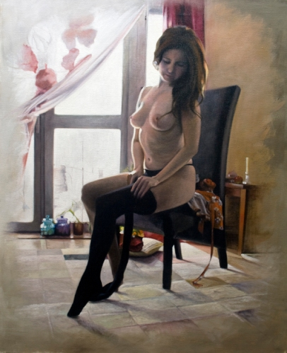 'Layla Dressing' Oil on canvas 24 x 30 ins Painting of Layla seated and getting dressed