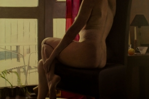 Life model painting of a seated nude