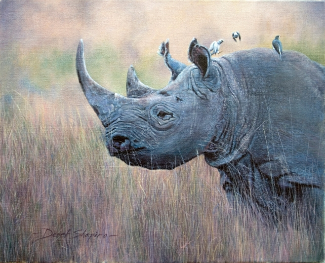 'On Guard' Big Five Collection Oil on canvas. Portrait painting of a Black Rhino.