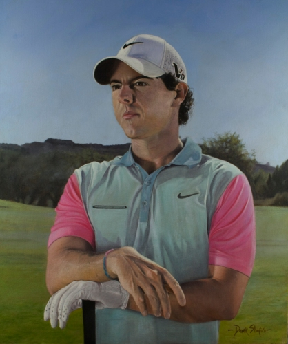 Oil on canvas portrait of the profesional golfer Rory McIlroy