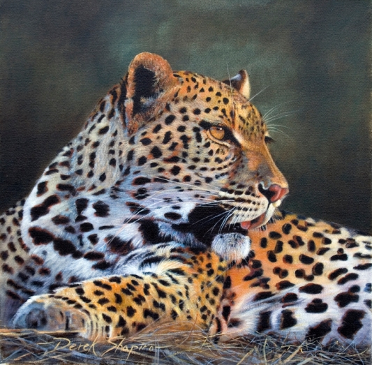 'Ready for Lunch' BIG FIVE COLLECTION Oil on canvas, portrait painting of a Leopard