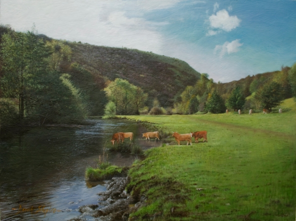 Landscape painting of the River Wye with cattle watering in the river.