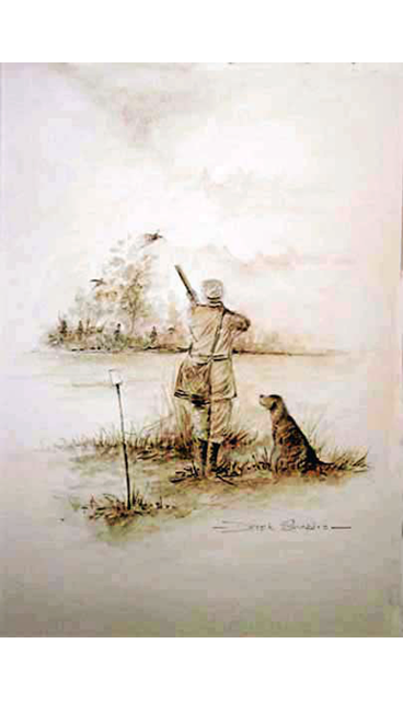 A Sepia watercolour study of a shooting man and his Labrador on a Pheasant standing on a peg on a Pheasant shoot