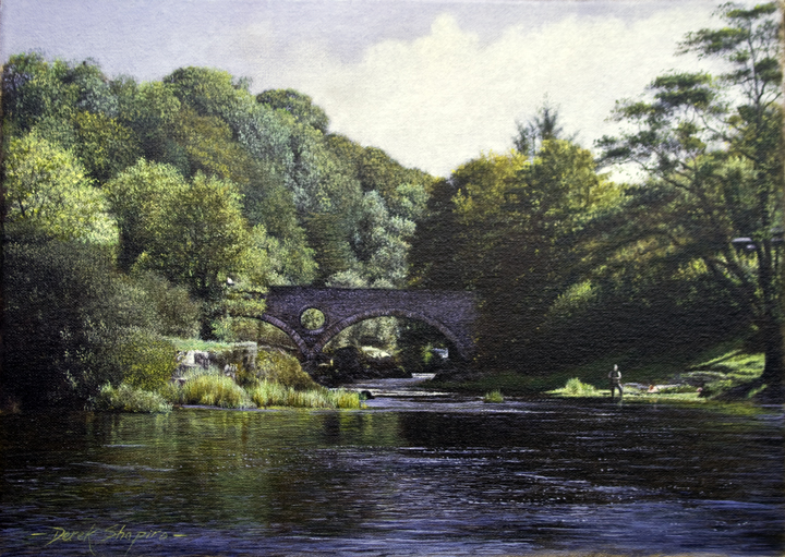 'The River Teifi', Cenarth Bridge' Camarthonshire a landscape painting, oil on canvas with a fisherman fishing for salmon