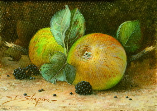 'Ashmeads Kernel' Oil on canvas 5 x 7 ins