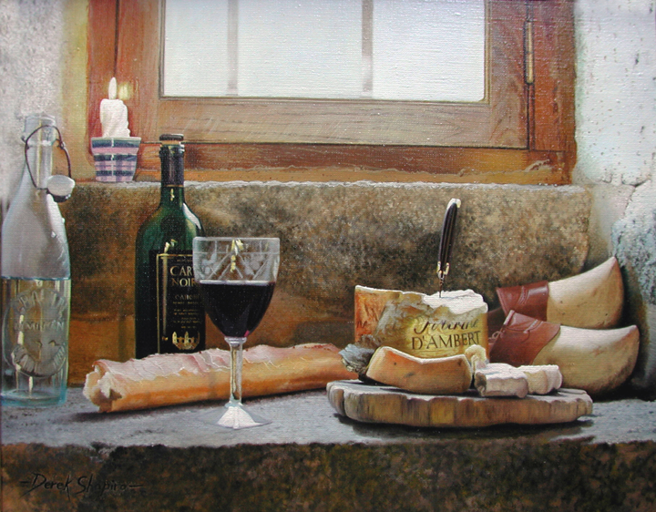French still life painting of a bottle of wine, cheese, D'ambert fromage from the Auvergne region, all set on a window sill