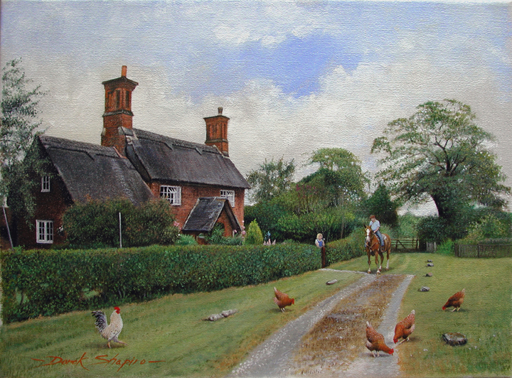 'Lane End' Osmaston Derbyshire Oil on canvas 12 x 16 ins