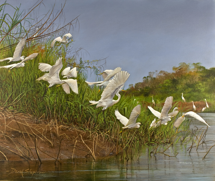 An oil painting on canvas of scattering Egrets flying across a river