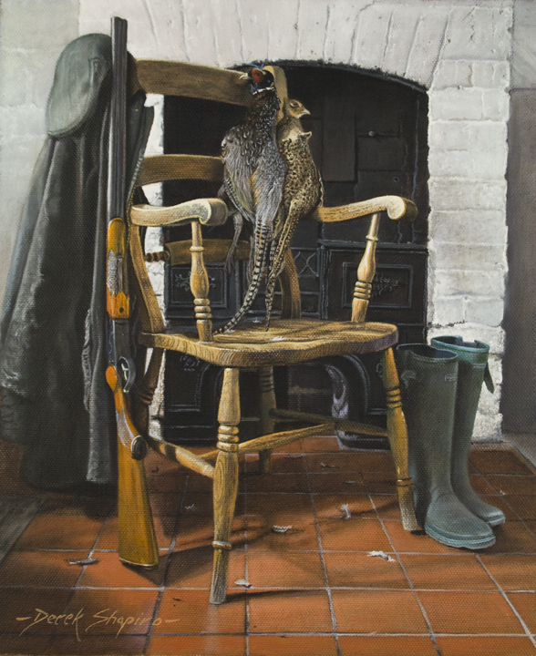 'Still Life of a Brace of Pheasants a Country Chair and Shotgun' Oil on canvas 10 x 8 ins