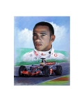 The original painting oil on canvas depicts Hamilton with his Formula 1 racing car after winning the 2008 world championship in Brazil and becoming the youngest world champion in Formula 1 history.