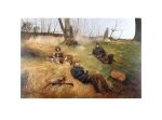 Five minutes is a limited edition edition signed print of two rough shooters with a brace of pheasants along with a pair of spaniel dogs taking a break during a days shooting, taken from the original painting by Derek Shapiro