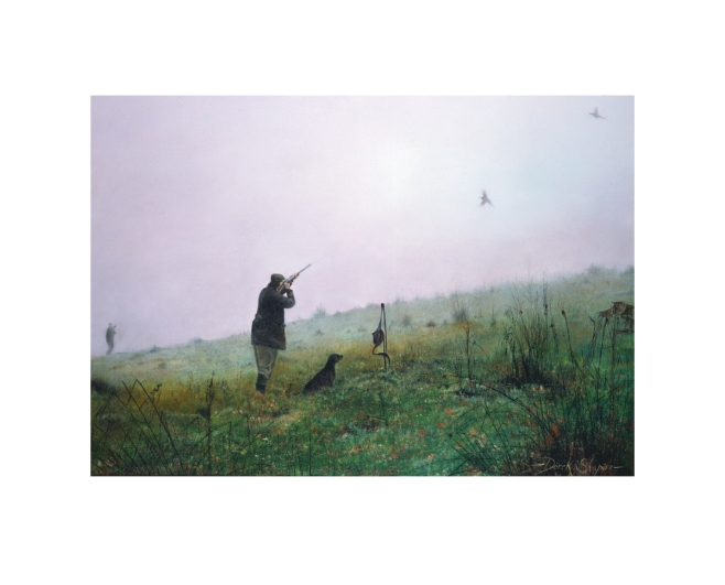 Field sports print of a driven pheasant shoot