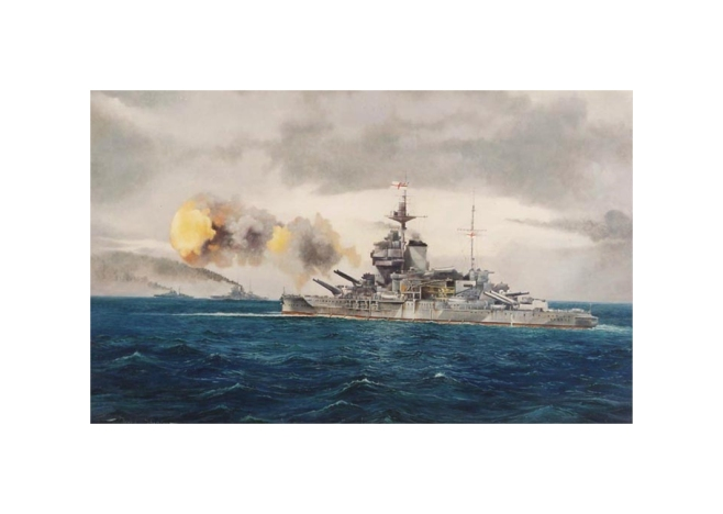 'HMS Warspite, The Old Lady Bombarding the Beaches, Normandy', Signed Limited Edition Print of the most famous British Battle ship of all time, firing salvos during the D-Day landings
