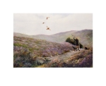 'The Glorious Twelfth' , Limited Edition print, of a figure in a Grouse butt on a Yorkshire Moor, shooting Grouse
