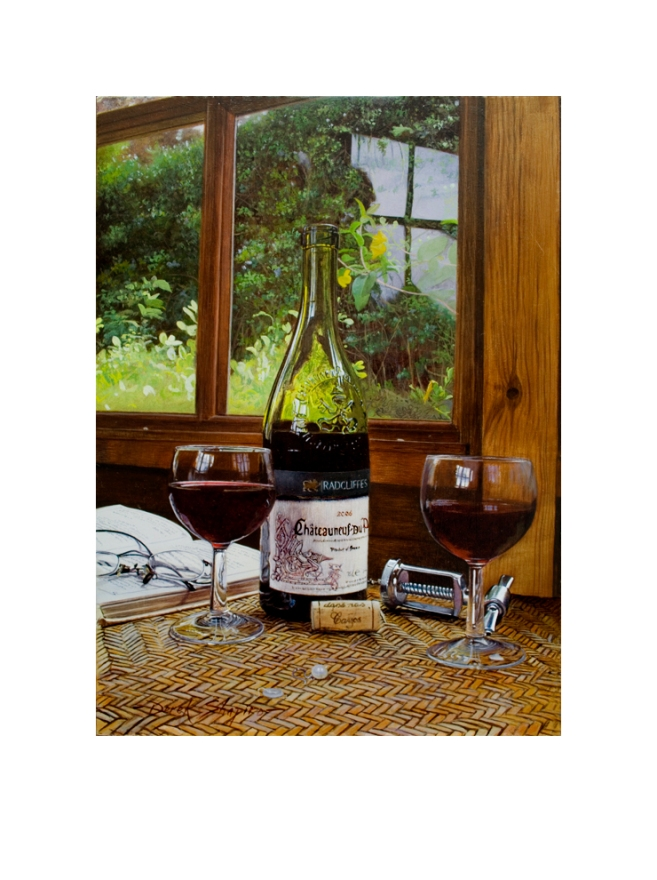 The Pearl Earring is an artist signed limited edition print of an opened bottle of wine with two glasses of red pored wine an earring, button and book set on a coffee table inside a summer house.