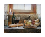 A still life limited edition print of a bottle of wine and cheese set on a windowsill in France