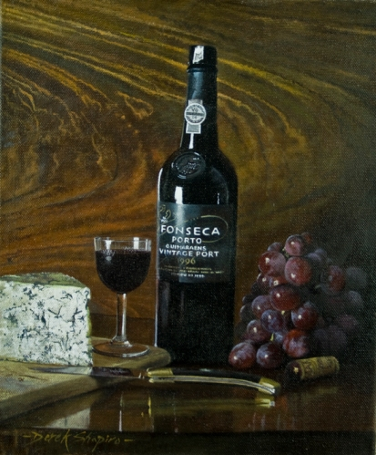 Still Life oil painting of a bottle of port with grapes and Blue Stilton cheese set on a Victorian Sideboard