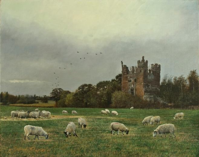 'Castle Ruin' Doddington Hall Doddinton Cheshire Oil on canvas 16 x 20 ins