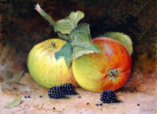 Still life painting of a fallen apple with Blackberries