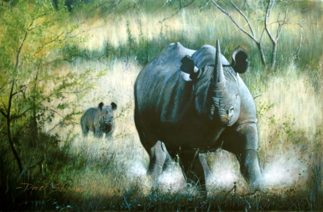 Oil painting of a Black Rhino in full charge, protecting its young calf which can be seen frozen in the background