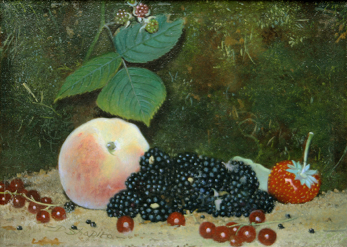 Still life oil painting of a peach, Blackberries and a strawberry