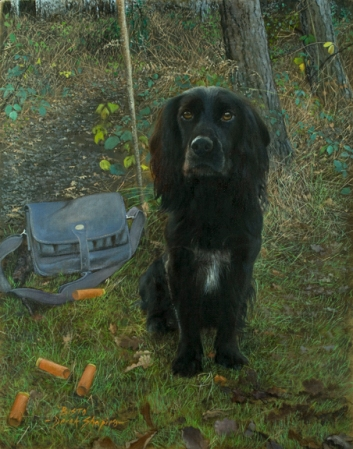 A commissioned oil on canvas posthumous painting of Bisto, a working Cocker Spaniel with a cartridge bag, in a wooded setting