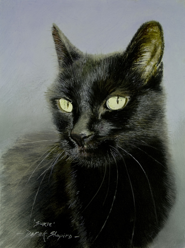 Commissioned posthumous oil painting of a black cat callet Sukie