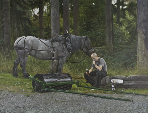 An oil painting of a Dutch Blue heavy horse and a woodsman taking a midday break.