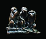 Bronze sculpture of the Three Wise Monkeys, see no evil,speak no evil, hear no evil