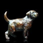 Fine art bronze sculpture of a Labrador puppy dog standing
