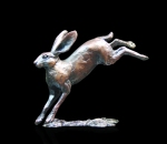 Bronze sculpture of a Hare leaping
