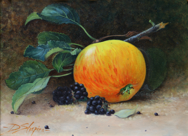 An oil painting of an fallen apple and Blackberries on a natural ground