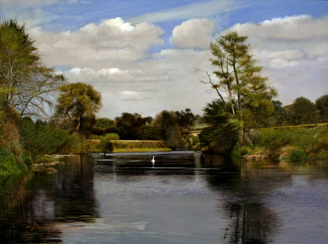 A landscape oil painting of the River Severn situated in Aveley in the county of Shropshire