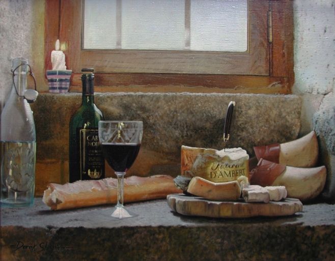 French still life painting of a bottle of wine and cheese on a windowsill