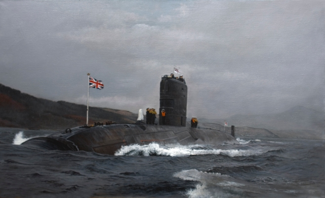 An oil painting of HMS Trenchant, first of the nuclear powered submarines (T-Class). On trials in Faslane.