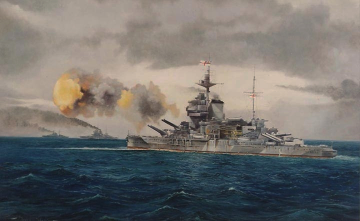 'HMS Warspite, The Old Lady Bombarding the Beaches, Normandy', Oil painting of the most famous British Battle ship of all time, firing salvos during the D-Day landings