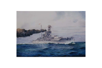 Watercolour painting of a Queen Elizabeth Class, Super Dreadnought, making a smoke screen during the Second World War
