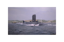 An oil painting of HMS Trafalgar, a nuclear powered submarine, coming into Plymouth Sound