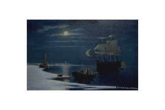 An oil painting of HMS Victory at anchor, set in a winter moonlight with fishermen in the foreground offloading their catch.