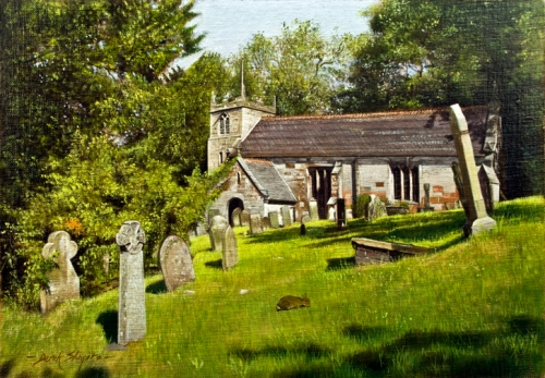 Commissioned painting of Maer Church in Staffordshire