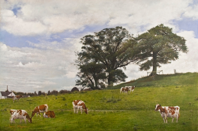 oil painting of a landscape view called Cottage Fields, with three oak trees with Ayshire cows grazing in the field