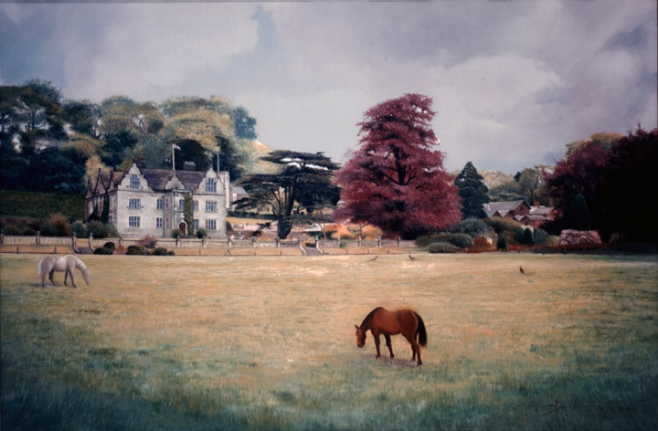 Landscape painting of an old hall seen across a paddock, with two horses grazing in the field.